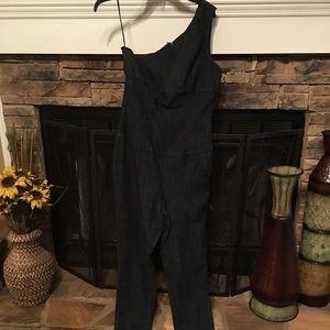 Jean one shoulder jumpsuit